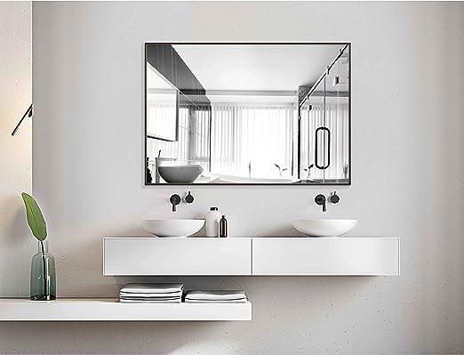 Hans&Alice Bathroom Mirrors Wall Mounted, Modern Black Frame Mirror for  Bathroom, Bedroom, Living Room Hanging Horizontal or Vertical Commercial  Grade ...