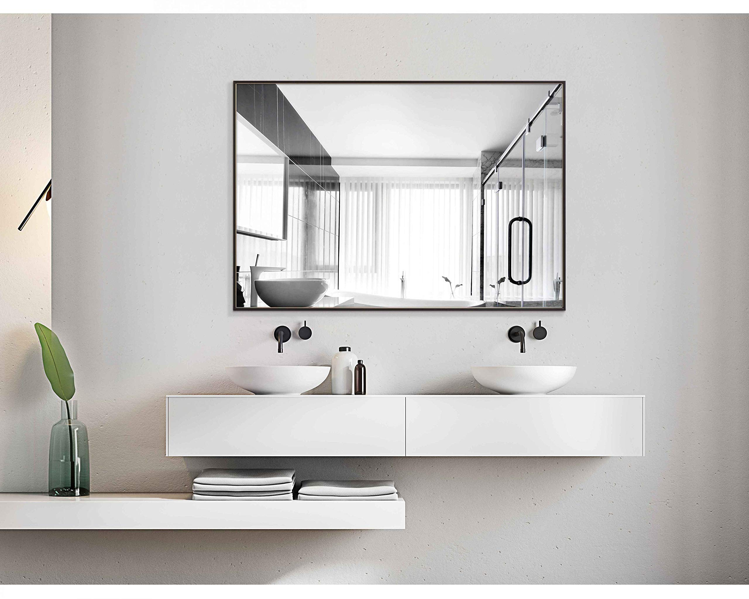 Hans&Alice Bathroom Mirrors Wall Mounted, Modern Black Frame Mirror for Bathroom, Bedroom, Living Room Hanging Horizontal or Vertical Commercial Grade 90+ CRI (32'' x 24'')