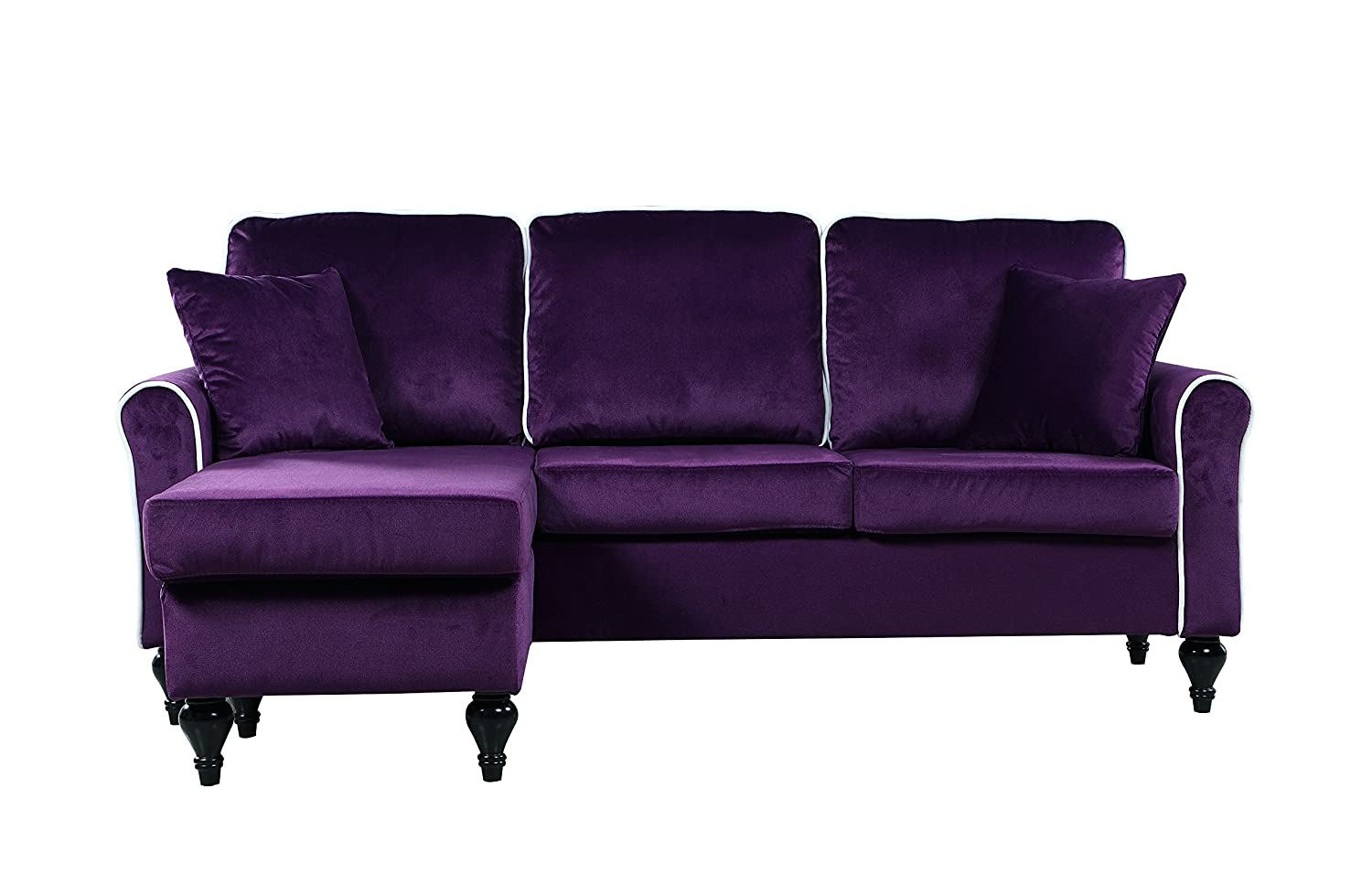 Amazon.com: Classic And Traditional Small Space Velvet Sectional Sofa With  Reversible Chaise (Purple): Kitchen U0026 Dining