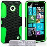 Yousave Accessories Nokia Lumia 630 / 635 Hülle Zäh Silikon Mesh Kombo Schutzhülle grün