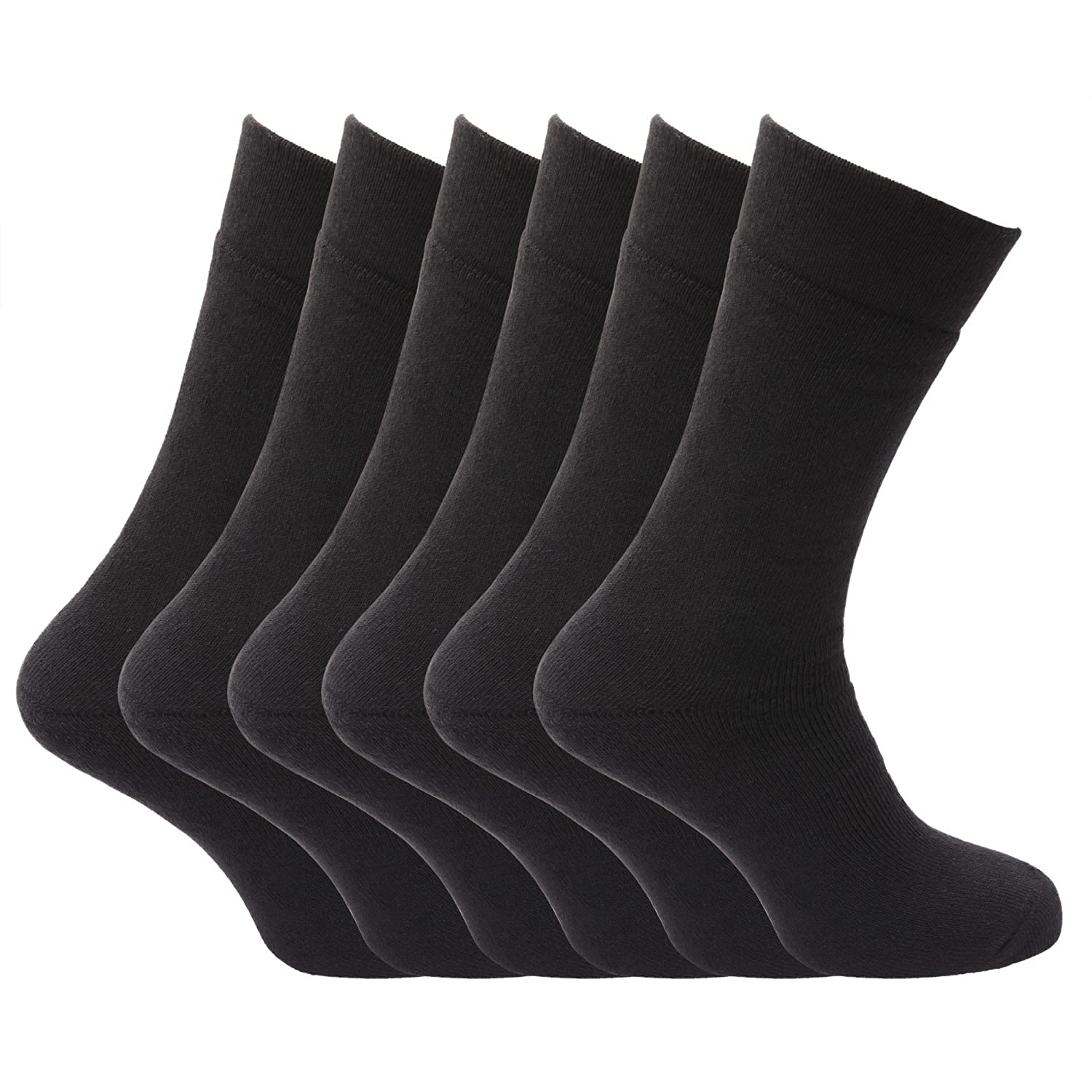 US Shoe 6.5-11.5 Pack of 6 Black Mens Non Elastic Extra Soft Top Warm Thermal Socks