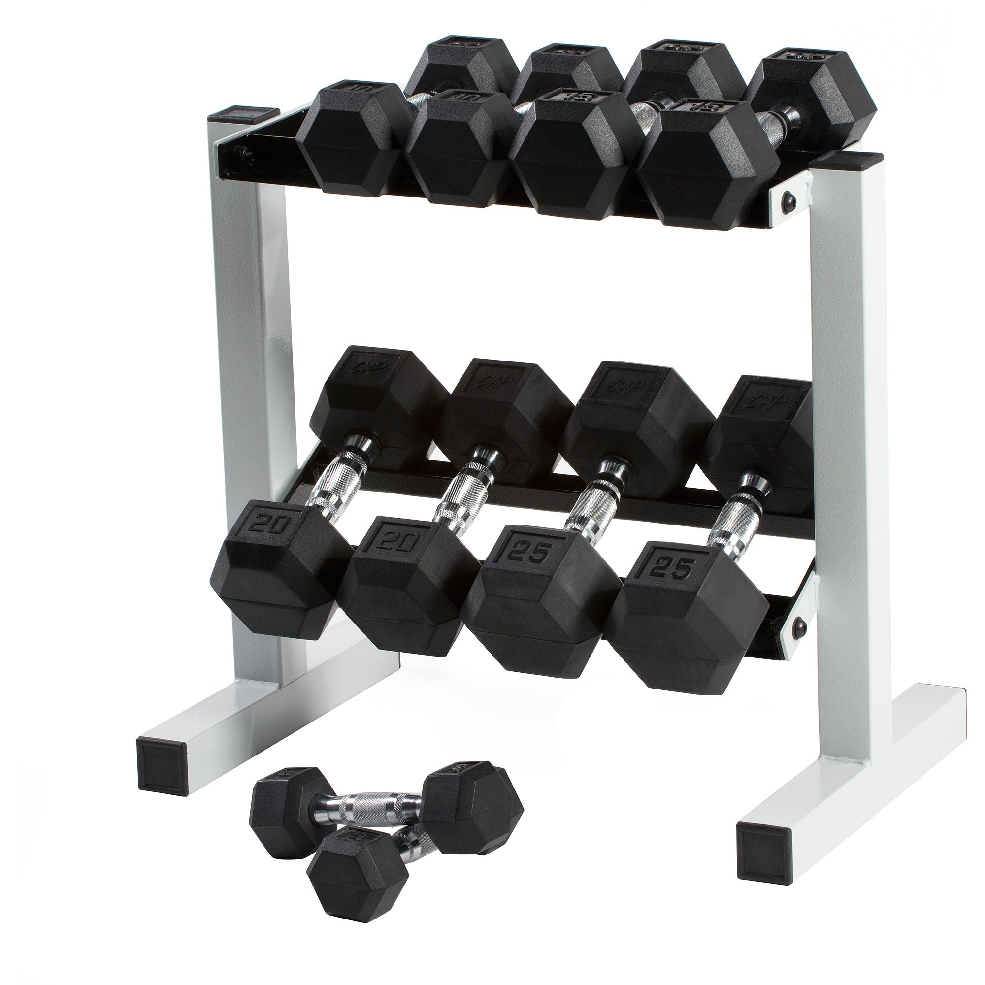CAP Barbell Set of 2 Hex Rubber Dumbbell with Metal Handles, Pair of 2 Heavy Dumbbells Choose Weight (5lb, 8lb, 10lb, 15lb, 20 Lb, 25lb, 30lb, 35lb, 40lb, 50lb) (8lb x 2) by CAP Barbell (Image #2)