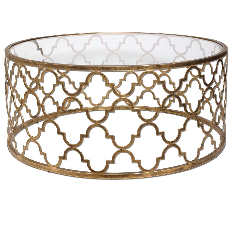 Amazon.com: Open Gold Iron Quatrefoil Coffee Table | Lattice Arabesque  Metal: Kitchen U0026 Dining