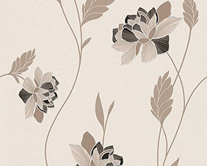 Excel Wallpapers Style FLORAL Paperback CREAM LIGHT BROWN 57 SQFT