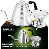 Stainless Steel Pour Over Kettle - Large 1.2L (40 fl oz) Gooseneck Kettle With Thermometer – Stovetop Drip Kettle for Coffee and Tea Coffee Dripper Filter Set