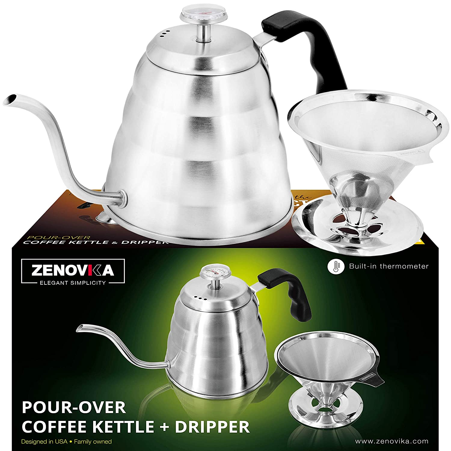 Stainless Steel Pour Over Kettle - Large 1.2L (40 fl oz) Gooseneck Kettle With Thermometer – Coffee Dripper Filter – Ideal Coffee Dripper Set for Coffee and Tea Zenovika