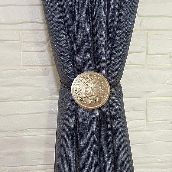 LIOOBO Curtain Tiebacks Love Heart Magnetic Curtain Clips Buckle Holdbacks Rustic Window Curtain Band Backs Holders for Home Hotel