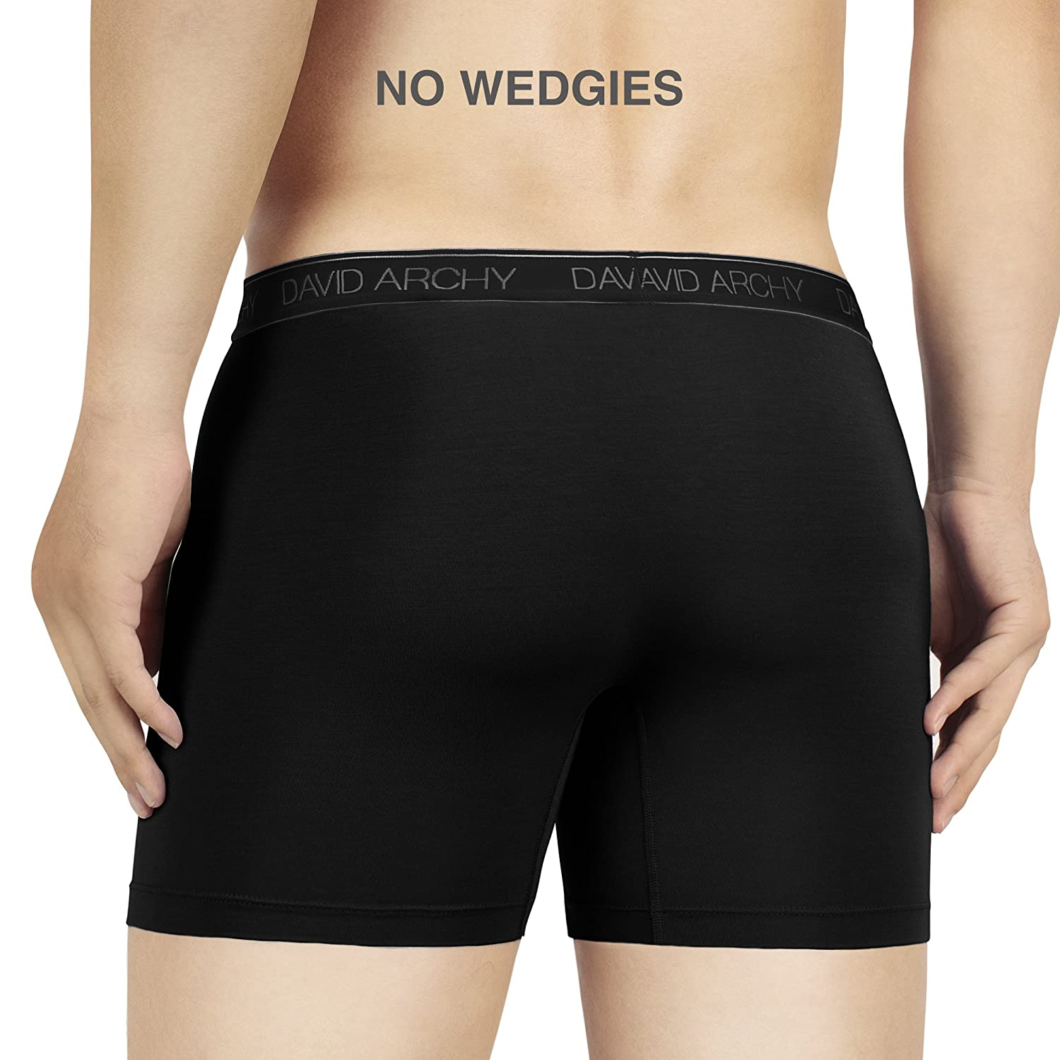 David Archy Mens 3 Pack Underwear Micro Modal Separate Pouches Boxer Briefs with Fly