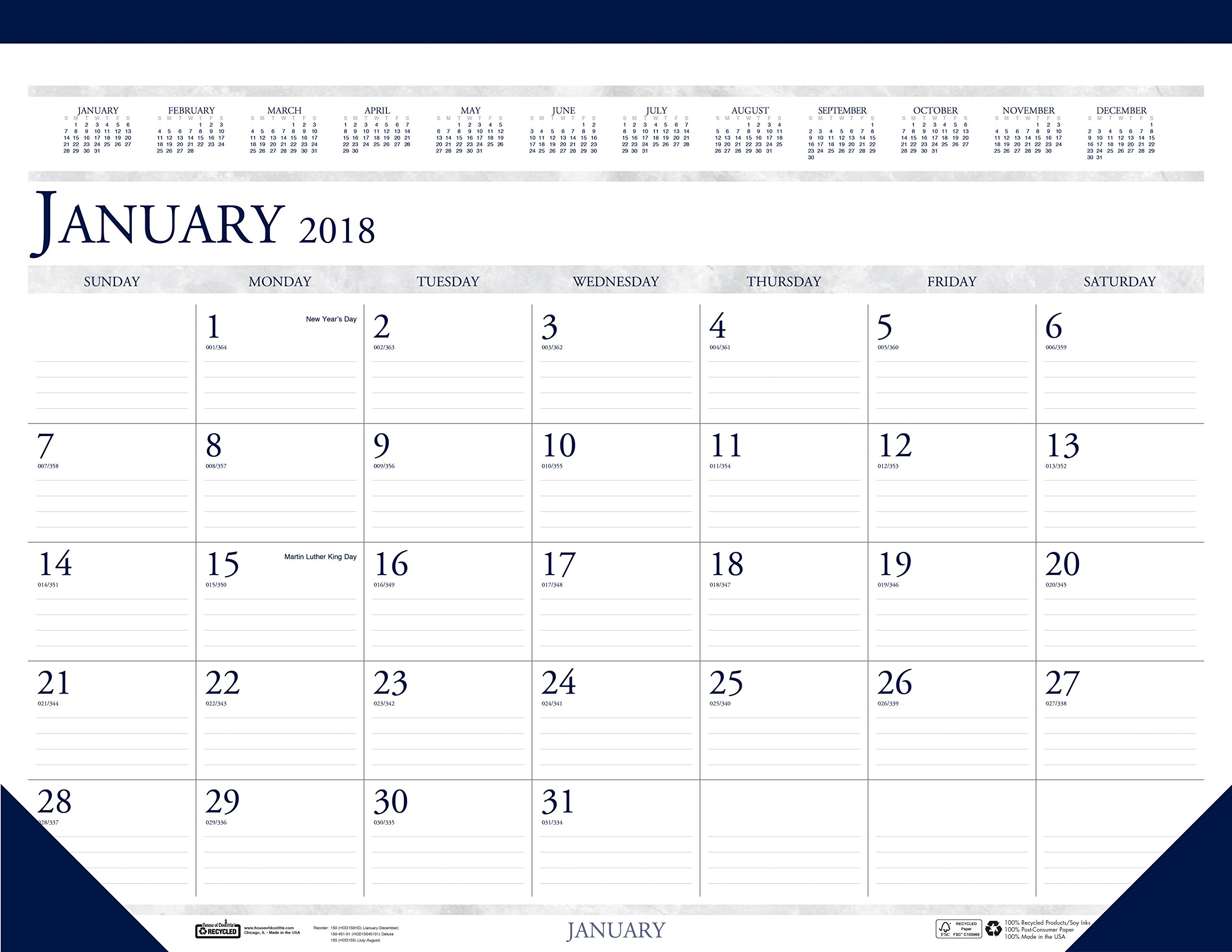 House of Doolittle 2018 Monthly Desk Pad Calendar, Classic, 22 x 17 inches, January - December (HOD150-18)