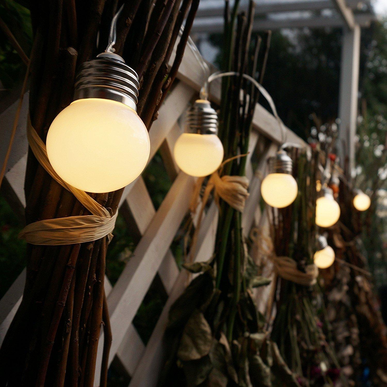 Blanco c/álido SUAVER Luces de cadena de luces solares,Impermeables 19.6ft 20 LED Bombillas Guirnalda de Luminosa,Decoraci/ón para Fiesta//Boda//Ceremonia//Jard/ín