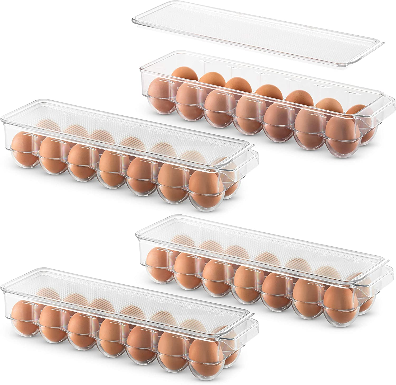 Clear Refrigerator Organizer Bins with Lids Plastic Egg Storage Container for Fridge Vtopmart Egg Holder for Refrigerator 2 Pack Stackable Tray Holds 14 Eggs