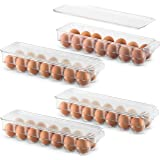 Set Of 4 Plastic Egg Holders Stackable Refrigerator Organizer Bins - Egg Tray Holder with Lid & Handles - Clear Plastic Stora