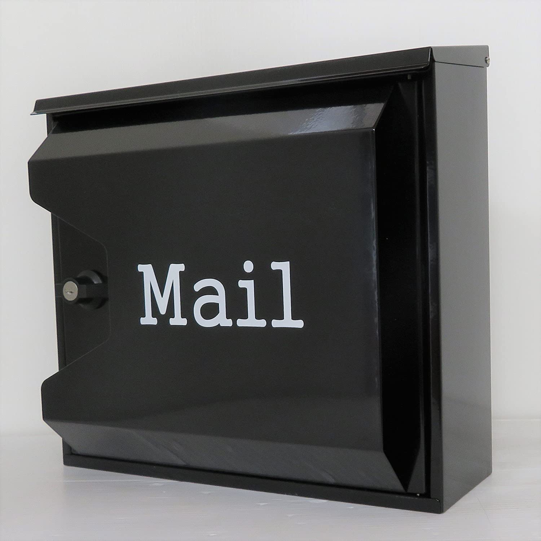 郵便ポスト郵便受け北欧風大型メールボックス 壁掛けプレミアムステンレス ブラック黒色ポストpm043 B018NNWYS6 12880
