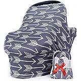 哺乳护罩围巾 - 汽车座椅遮蓬,多用途婴儿汽车座椅套,适合女孩和男孩,灰色,箭侠出品