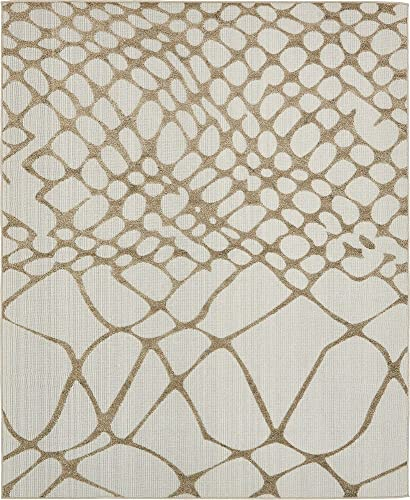 Unique Loom Outdoor Modern Collection Carved Abstract Transitional Indoor and Outdoor Flatweave Cream Area Rug 8' 0 x 10' 0