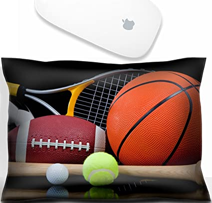 Luxlady Mouse Wrist Rest Office Decor Wrist Supporter Pillow A Group Of  Sports Equipment On Black