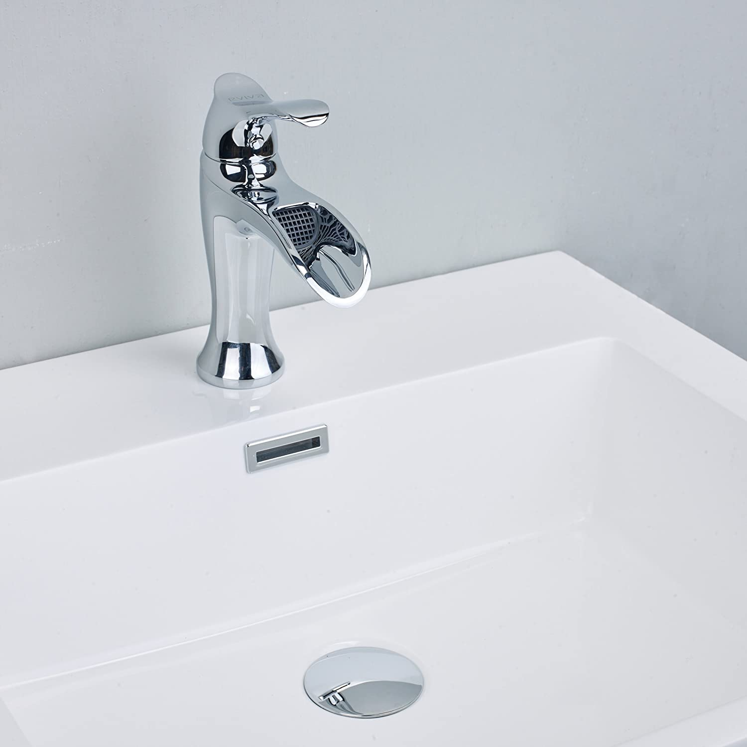 Lever Brushed Nickel Bathroom Sink Faucet Combination GHP-USA Eviva EVFT164BN Swan Luxury Water-Fall Single Handle