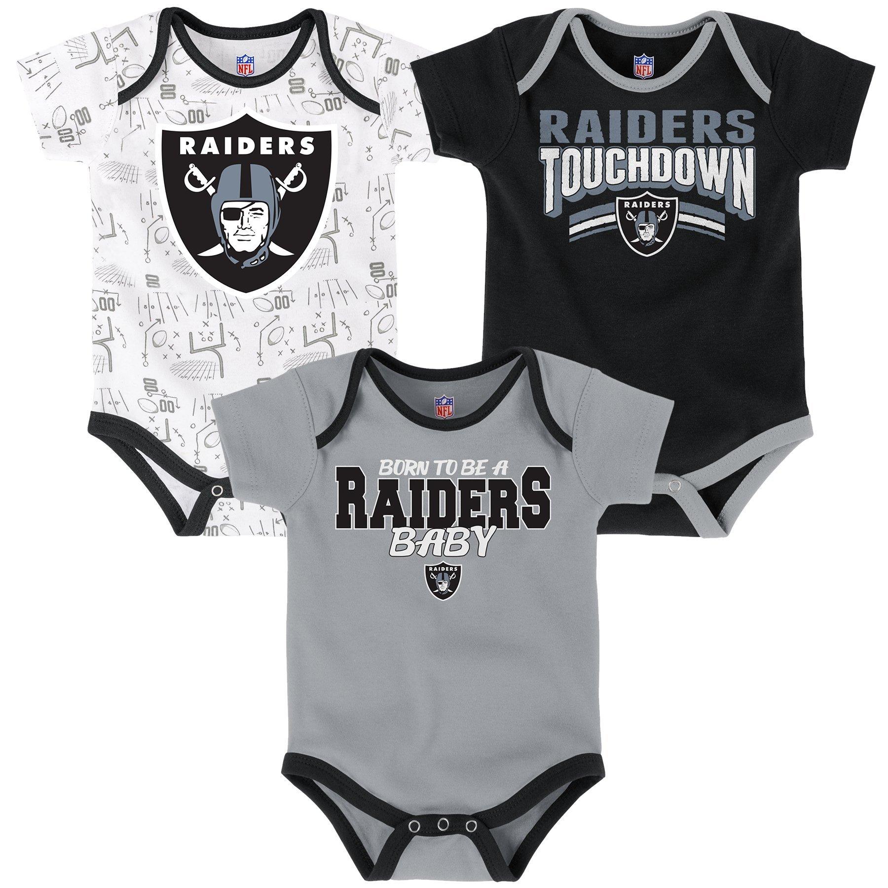 6dbe42cda NFL Newborn Playmaker 3 Piece Onesie Set-Black-3 Months, Oakland Raiders