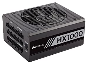 CORSAIR HX Series, HX1000, 1000 Watt, 80+ Platinum Certified, Fully Modular Power Supply