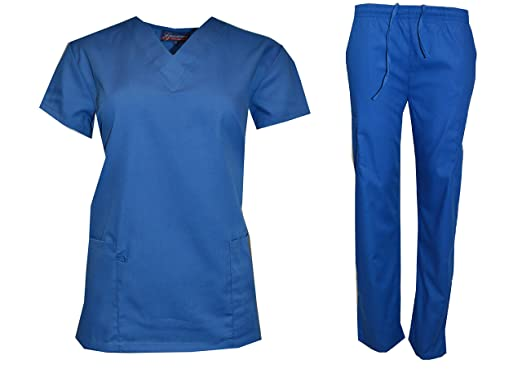 b0215220049 Scrub Lot Wholesale Medical Sets Top Pant Solid Bulk Qty 12 Medical Nursing  Hospital (S