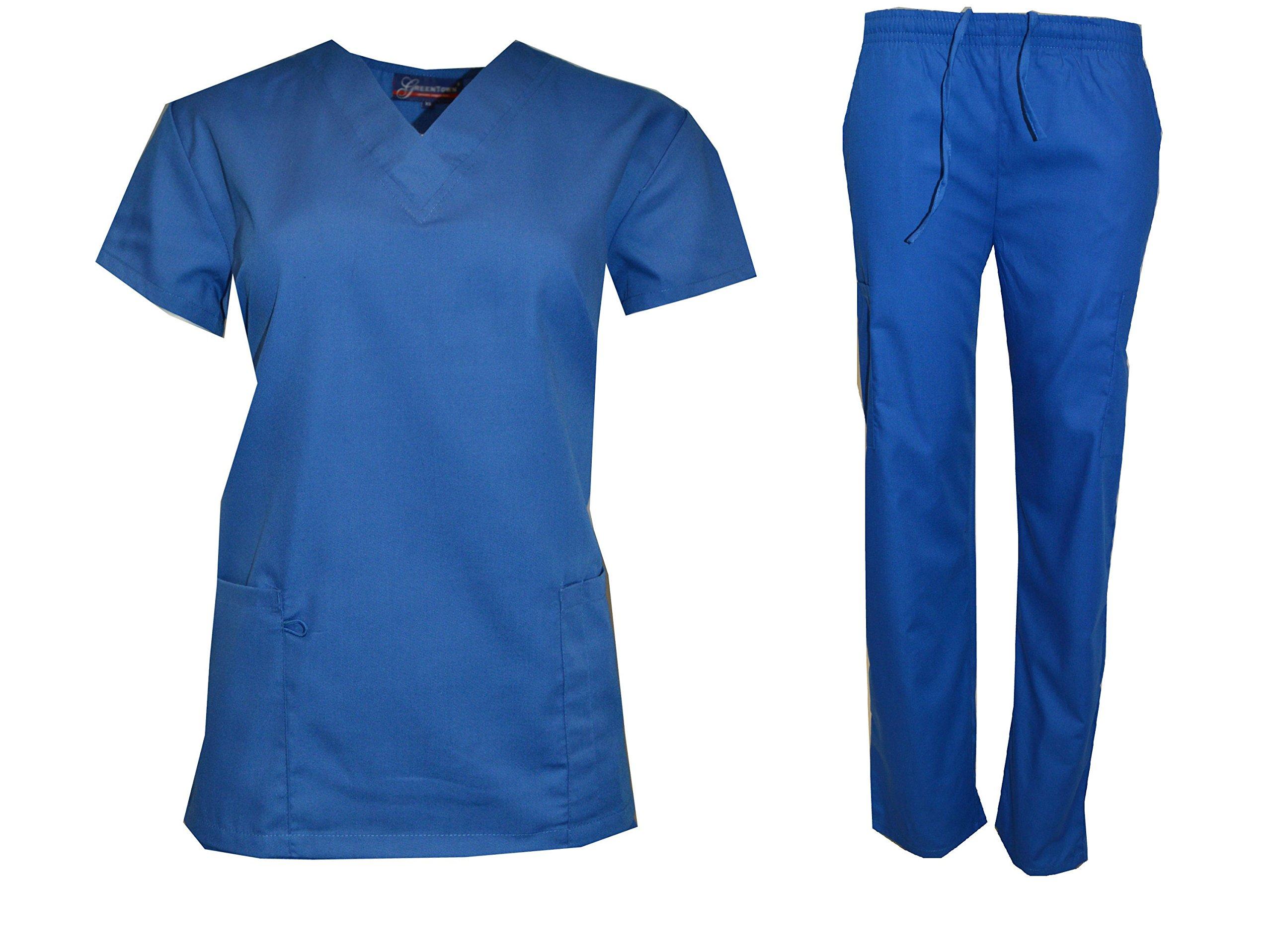 Scrub Lot Wholesale Medical Sets Top Pant Solid Bulk Qty 12 Medical Nursing Hospital (M (12 Sets), Royal)