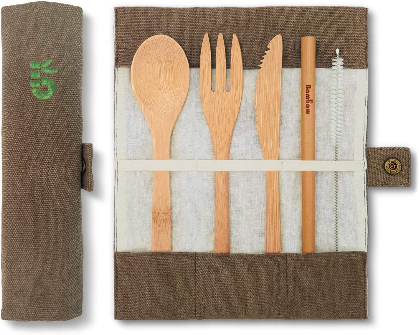 Cubierto de bambú | Cubiertos madera ecológicos |Utensilios madera | Set para picnic | Set cubiertos para camping | Cucharada, tenedor, cuchillo, pajita | 20 cm | Verde Oliva |Bambaw