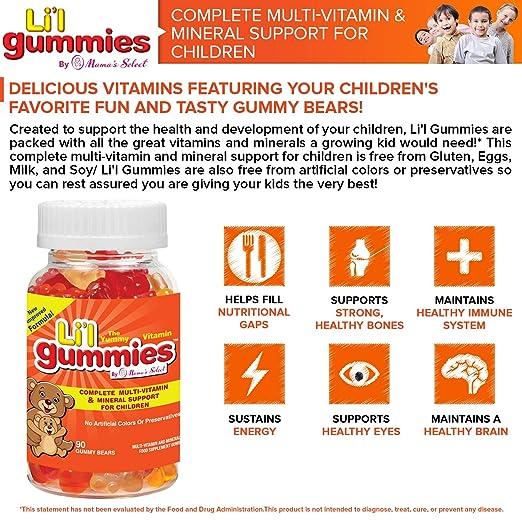 Gominolas para niños - Soporte completo para niños con multivitaminas y hierro, con vitaminas para niños - Lil Gummies de Mamas Select contiene vitaminas ...