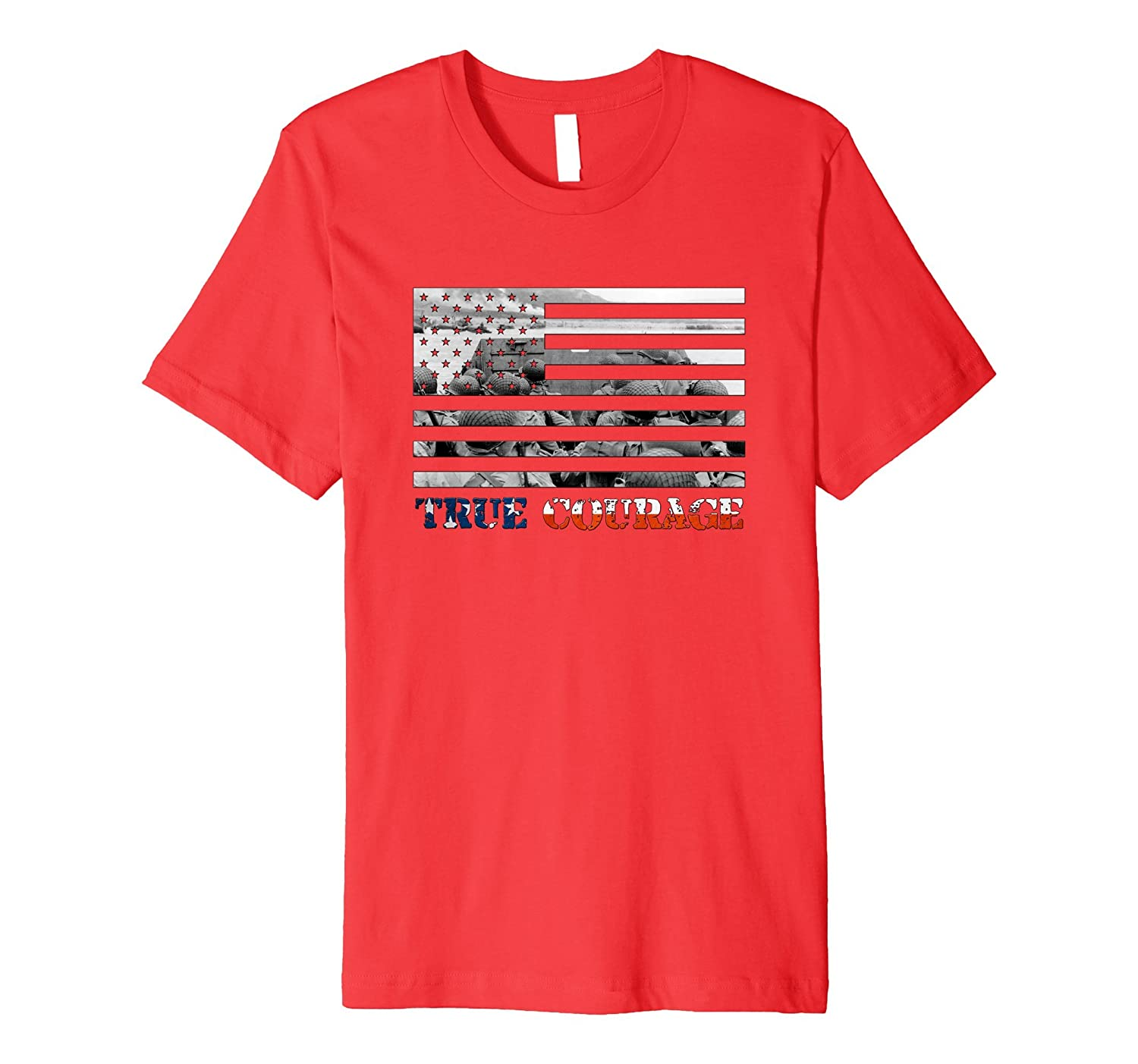 WW2 D-Day Normandy American Flag Patriotic T-Shirt-Art