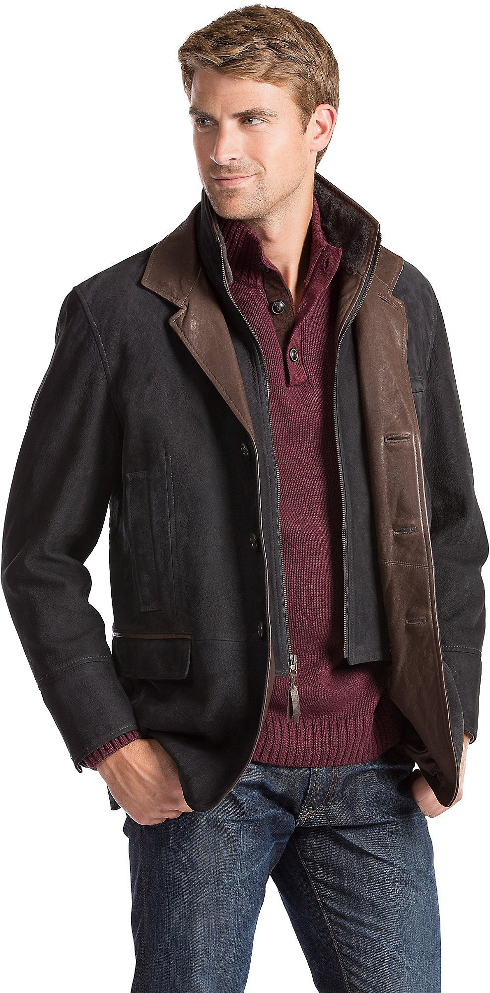 Carlsbad Calfskin Leather Blazer with Shearling Collar by Overland Sheepskin Co