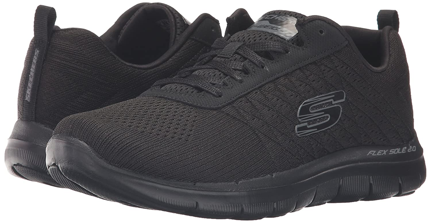 Skechers Damen Flex Appeal 2.0-Break 2.0-Break 2.0-Break Free Outdoor Running Trainers mit Schnürung und gepolsterter Einlegesohle aus Air Cooled Memory Foam Schwarz (Bbk) 014474