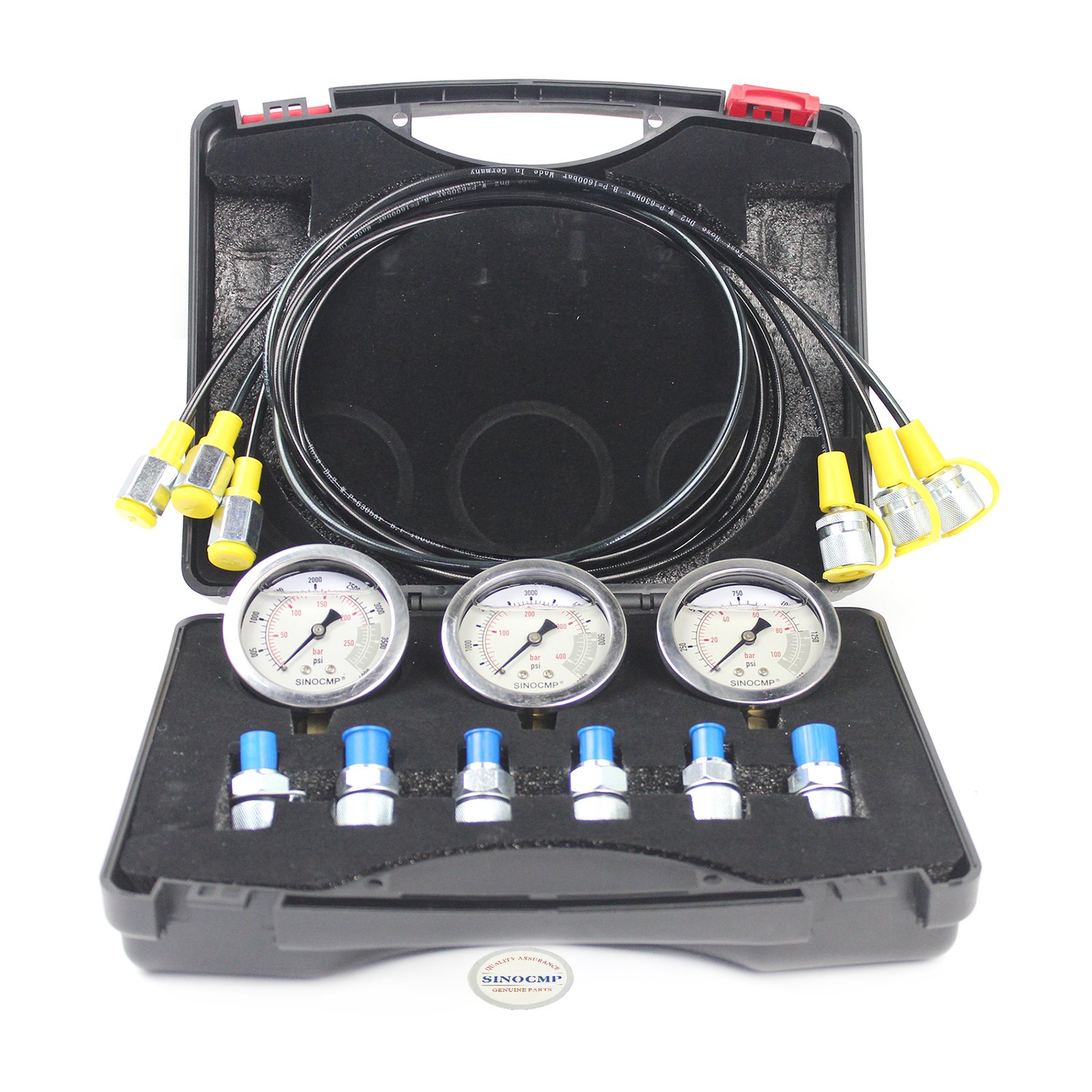 Hydraulic Pressure Test Kits - SINOCMP Hydraulic Gauge Set, 6 Couplings, 3 160cm Long Test Hoses and 3 Pressure Gauge 10/25/40 Mpa for Excavator Construction, 1.7KG, 2 Year Warranty