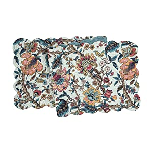 C&F Home Tansy Cotton Quilted Reversible Table Cotton Machine Washable Runner 14x51 Runner Blue
