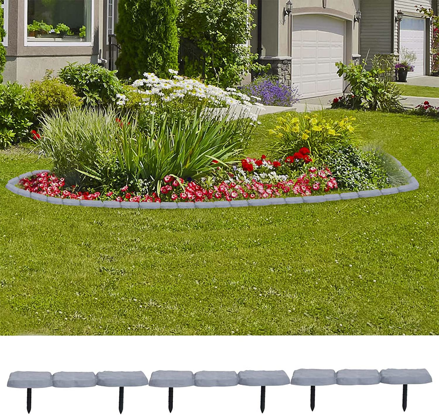 Tidyard 30 Piece Lawn Edgings Plastic Stone Look Garden Landscape Divider Border Outdoor Flower Grass Plant Bed Fence Edging Decor Gray for Yard, Lawn, Landscaping, Patio