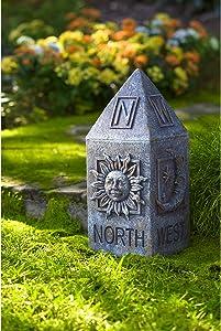 Evergreen Garden Compass Garden Totem - 9 x 17 x 9 Inches