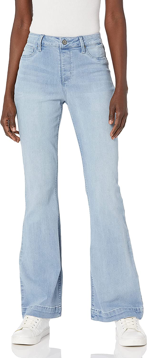 Laurie 2021new shipping Ranking TOP6 free Felt Women's Silky Denim Flare Pull-On Jeans