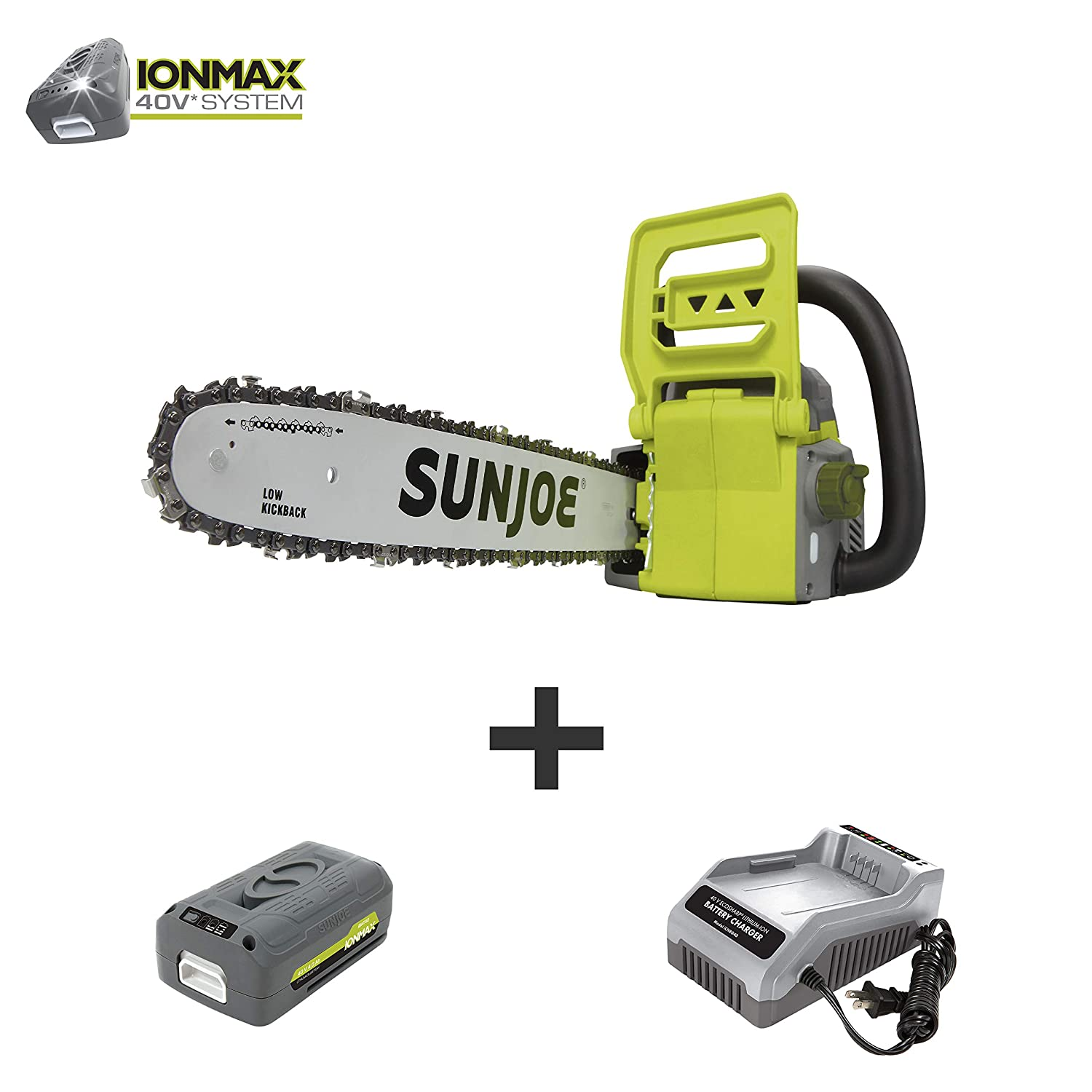 Sun Joe ION16CS 16-Inch 4-Amp 40-Volt Cordless Chain Saw, Kit w 4.0-Ah Battery Quick Charger