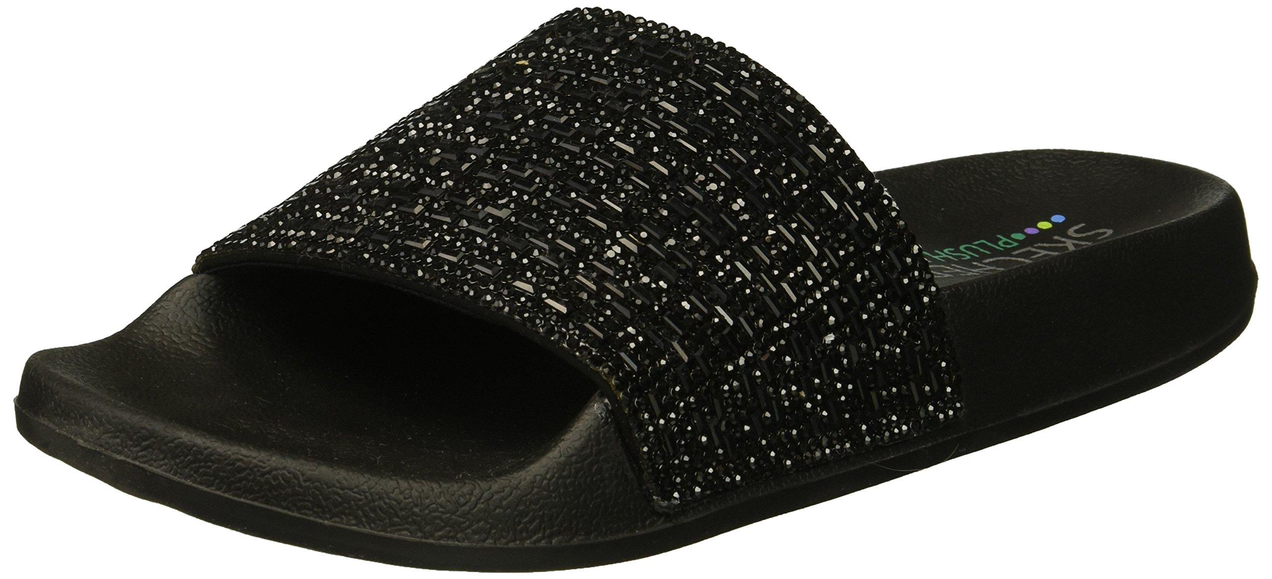 Skechers Women's Pops up-Summer Rush-Rhinestone Shower Slide Sandal, Black/Black, 7 M US