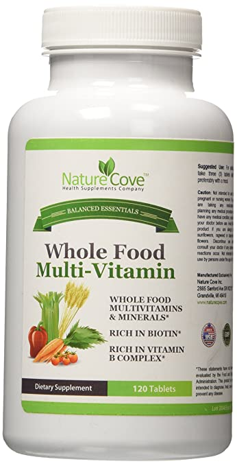 NatureCove Whole Food MultiVitamin ★ Made With Vegetables & Herbs ★ Rich in  Biotin ★ Rich