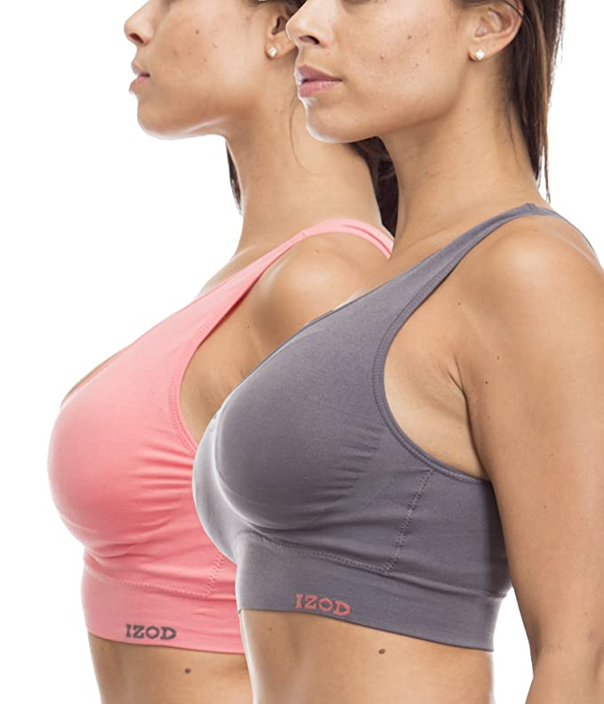 2dadd59e6873ed IZOD (500849IZ) Womens Comfort Seamless Bra Bralette with Removable Pads - 2  Pack Size  Large in Coral Grey  Amazon.in  Clothing   Accessories