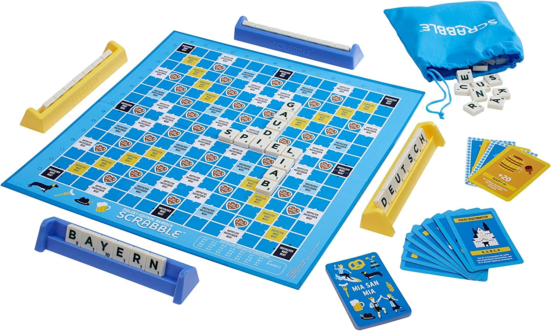 Mattel Games GPW44 – Scrabble Dialekt Edition Bayern Juego de Palabras y Juego de Mesa Adecuado para 2 – 4 Jugadores, Juegos de Sociedad y Juegos de Palabras a Partir de 16