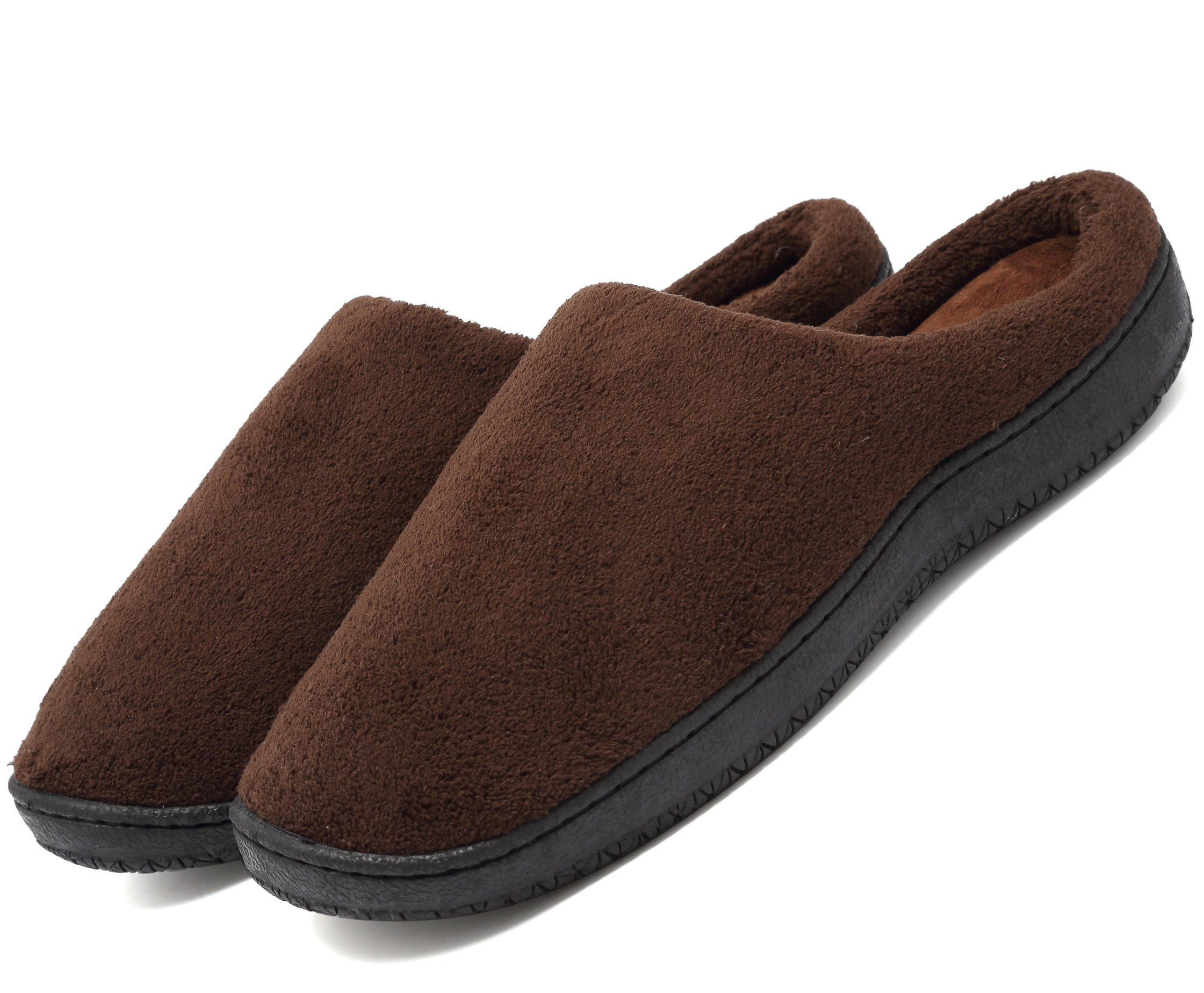 welltree Unisex Soft Coral Plush Memory Foam Comfort House Clog Indoor Slippers 4/10.5-11.5 B(M) Women/8.5-9.5 D(M) Men Brown 42.43