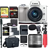 Canon EOS M50 Mirrorless Camera with 15-45mm Lens (White) with Accessory Bundle