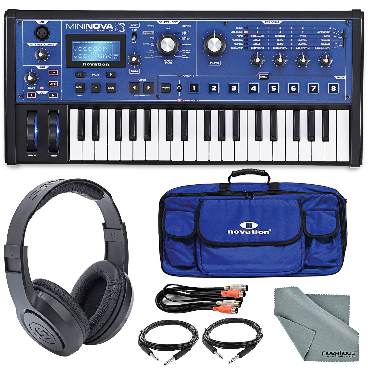 Novation MiniNova Compact Analog Modelling Synthesizer W/Stereo Headphones, Gig Bag, Cables and FiberTique Cleaning Cloth