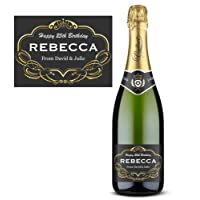 Personalised Champagne Wine Label - weddings or engagements, family & friends - Gold / Black SWIRLS