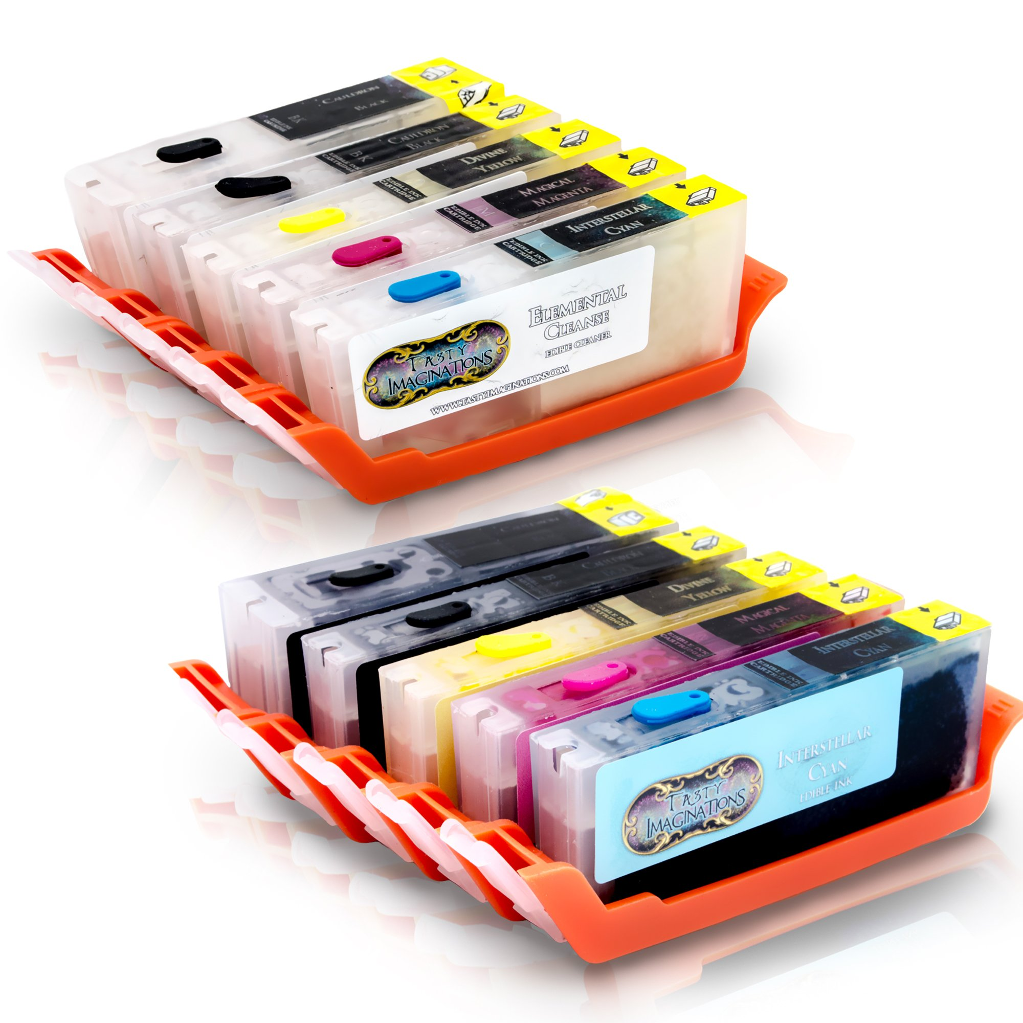 Tasty Imaginations Edible Ink and Cleaning Cartridges for Canon CLI-251 & PGI-250 5 Pack works with MG5420, MG5520, MG6420, MG6620, MX922 Cake Ink FDA Compliant (Combo Pack) by Tasty Imaginations