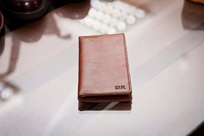 f930987687f348 Amazon.com: Personalized leather wallet hand stiched leather wallet with  zipper custom engraved leather brown leather wallet: Handmade