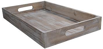 Tablett Holz khevga servier tablett holz vintage weiß amazon de küche haushalt