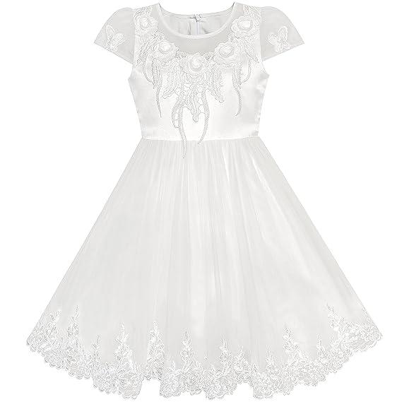 Sunny Fashion Vestido para niña Flor Apagado Blanco Gorra Manga Boda Fiesta 6 años