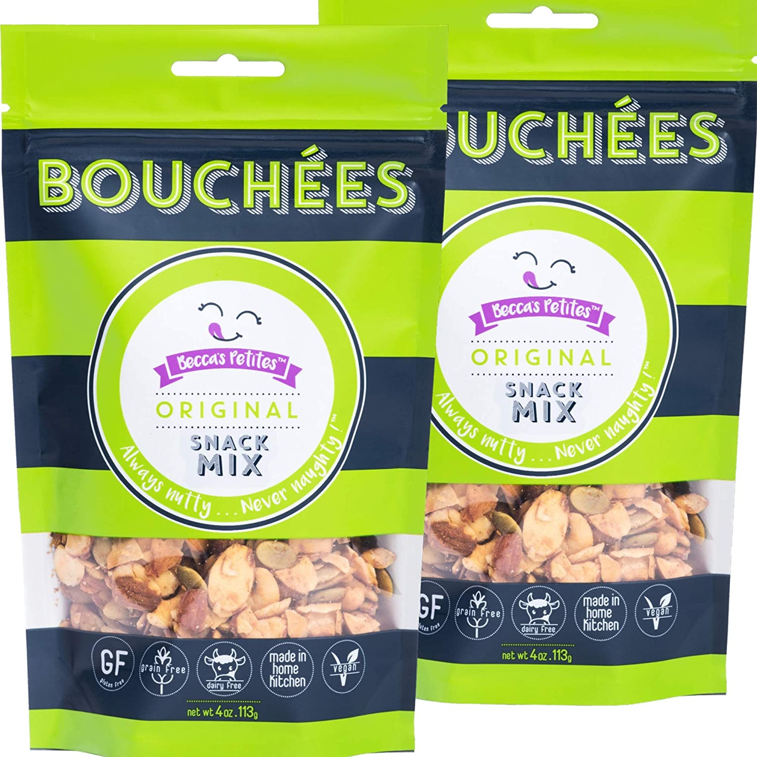 Becca's Petites Grain Free Granola – Mixed Nuts, Seeds - Original (Maple Syrup, Apple, Cinnamon) – Paleo, Gluten Free Snack I Granola or Cereal Topping - No Artificial Ingredients, 4 Oz Bag (2-Pack)