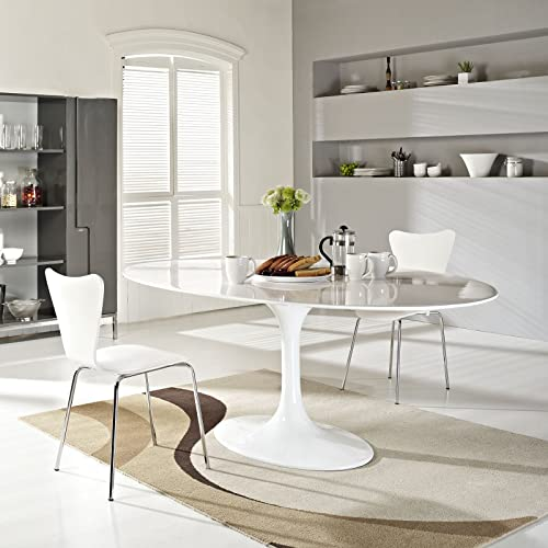 Modway Lippa 78 Fiberglass Dining Table in White